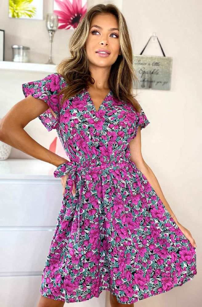 KAYLLA PURPLE FLORAL WRAP BELTED DRESS BNWT SIZES 8-16